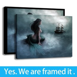 Mermaid Print Canvas Australia - Art Pirates Movie Canvas Art HD Print Porch Decor Mermaid Ship Painting - Ready To Hang - Framed