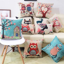 $enCountryForm.capitalKeyWord Australia - Square Flax Printed Pillows Owl Home Cushion Animal Cat Pad Pillow Car Floral Pillow Classic UK France Flag Printing Cushions