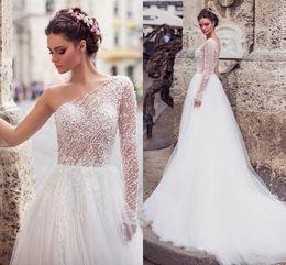 $enCountryForm.capitalKeyWord UK - Stunning Pearls Beading One Shoulder A Line Wedding Dresses 2020 Spring Design Long Sleeve Backless Boho Lace Wedding Gown AL2276