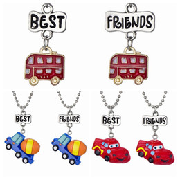 """Bff Necklaces Australia - 2PCS Pair """"Best Friend"""" Alloy Resin Car Bus Truck Pendant Necklaces Kids Imitation BFF Necklace For Children Jewelry Birthday Gifts"""