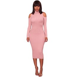 40f6229739689 Women Cold Shoulder Midi Dress Turtleneck Long Sleeve Solid Bodycon Sexy  Dress Casual Party Off The Shoulder Pencil Dress 2019