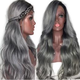 gluless human hair lace wig Australia - Silk Top Full Lace Human Wigs gery Peruvian Hair Water Wave Medium Cap Gluless Lace Front Human Hair Wig with baby hair