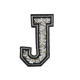 sew patch letters NZ - J Letter Hot Fix Rhinestone Patch Sew Iron On Alphabet Badges Embroidered Appliques Handmade For Bag Jeans Hat T Shirt DIY