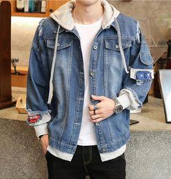 $enCountryForm.capitalKeyWord NZ - Free shipping fashion hole denim jacket men's autumn warm Korean version of the trend of new men's clothing on the wild sweater men's jacket