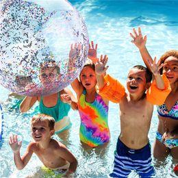 $enCountryForm.capitalKeyWord Australia - 1 Piece Inflatable Transparent PVC Playing Ball Pool Entertainment Sequin Glitter Beach Ball Water Children Girl Funny Toys