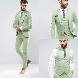 Discount light beige skinny suit - Custom Made One Button Men's Fashion Wedding Suits Light Green 3Pcs Tuxedos Formal Groom Tuxedos(Jacket+Pants+Vest)