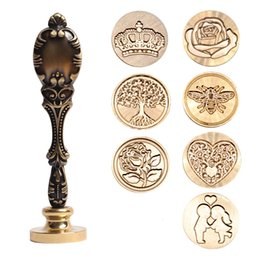 cartoon stamping Australia - Wax Seal Stamp Retro Antique Sealing Wax Scrapbooking Stamps HEAD Wedding Decorative Metal Handle Tree FLOWER CROWN ROSE