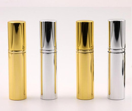 gold perfume bottle atomizer NZ - Brilliant Gold Silver 5ml Refillable Portable Mini perfume bottle &Traveler Aluminum Spray Atomizer Empty