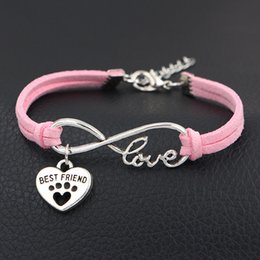 $enCountryForm.capitalKeyWord Australia - Silver Infinity Love Dog Paw Prints & Best Friends Heart Pink Leather Suede Cuff Charms Bracelets Bangles Unique Women Men Customize Jewelry