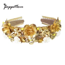 $enCountryForm.capitalKeyWord Australia - Baroque All Match Hairband Gold Flower Rhinestone Twist Women Hair Accessories Many Colors Slip-proof Girl Hairwear Headband Y19051302