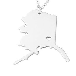 necklaces pendants UK - Stainless Steel Map Pendant Necklace We Love Alaska AK state charm necklace 3 colors