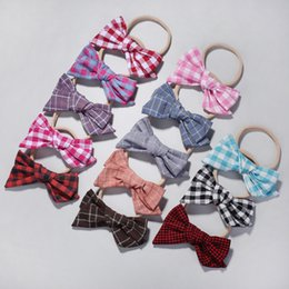 wholesale plaid fabrics Australia - MengNa Girl Fabric Bow Headband,Plaid Hair Bow with Nylon Headband,Kids Bows Nylon Headbands Hair Accessories 36pc lot