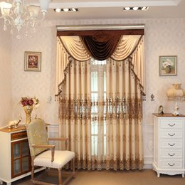 $enCountryForm.capitalKeyWord Australia - American Style Curtains for Living Room Floor-to-ceiling, Water-soluble Curtains for Bedroom Embroidered Valance
