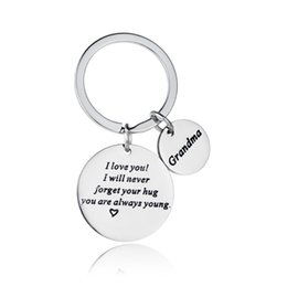 Wholesale 12PC Gift For Grandma Grandmother I Love You I Will Never Forget Hug Love Heart Keyring Stainless Steel Keychain Charm