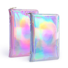 holographic bags UK - wholesale 72 Slots Holographic Stamping Plate Holder Case Laser Silver Pink Storage Bag Manicure Nail Art Plate Organizer