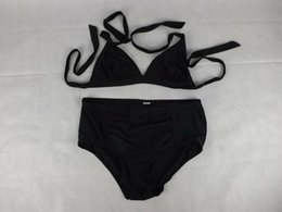 Wholesale solid colour bikinis online – 18 New bikini swimsuit female sense straps Europe and the United States small chest gathered solid color beach bikini black