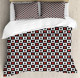 Washable Suits Australia - Poker Queen Size Duvet Cover, Poker Card Suits in Checkered Squares Spades Hearts and Clubs