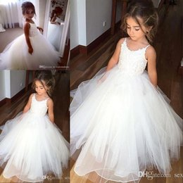 $enCountryForm.capitalKeyWord Australia - Hot Sale Spaghetti Lace And Tulle Flower Girl Dresses For Wedding White Ball Gown Princess Girls Pageant Gowns Children Communion Dress BM09