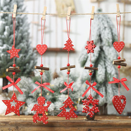 kids star lights 2019 - DIY Red Christmas Snowflakes&Star&Tree Wooden Pendants Ornaments Home Christmas Party Xmas Tree Kids Gifts Decorations P