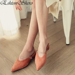Discount orange slingback shoes - EshtonShero Summer Woman Slippers Low Heels Leather+PU Slip On Pointed Toe Slingback Fashion Ladies Wedding Shoes Size 3