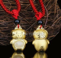$enCountryForm.capitalKeyWord Australia - Natural White Hetian Jade + 18k Solid Gold Chinese Blessing Zodiac Boar Amulet Pendant + Free Necklace Jewelry + Certificate Y19052301