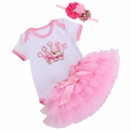 girl baby blue tutu skirt UK - Princess Baby Girl 3PCS Clothing Set Roupa De Bebe Suits;Summer Short Sleeve Baby Clothes Tops Tutu Skirt Baby Birthday Set 0-2Y S200107