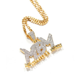 Money chains online shopping - Iced Out Zircon Letter Motivated By Money Pendant Necklace Two Tone Plated Micro Paved Lab Diamond Bling Hip Hop Jewelry Gift