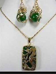 $enCountryForm.capitalKeyWord Australia - jewelry hot sell new - Jewelry Fashion New Green jade Dragon Pendant necklace earring set For Women NEW