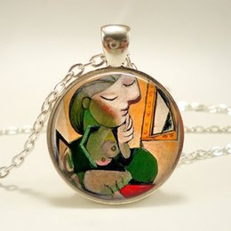 necklaces pendants Australia - Picasso Painting Jewelry Dream Girl Glass Dome Pendant Silver Plated Choker Necklace Abstract Painting Necklace Gift For Women