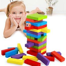 Diversão de madeira primária de cor multicolor pilha infantil alta desenhar blocos de construção de cor embalagem de 54 peças venda por atacado