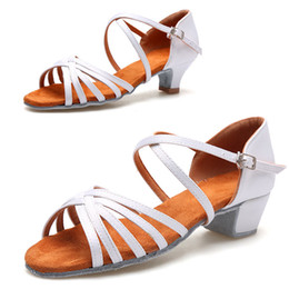 Ballroom Latin Tango Shoes Australia - Child Latin Tango Ballroom indoor Shoes Dancing Shoes White Color Girl Discount Brand Shoes Heel Hight 3.5cm and 4.5cm