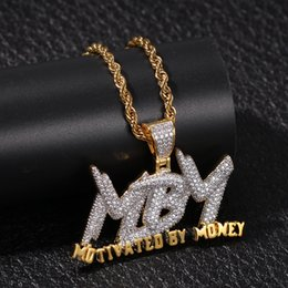 $enCountryForm.capitalKeyWord Australia - Hip Hop 18K Gold Plated Full CZ Cubic Zirconia MBM Letter Motivatedbymoney Pendant Necklace Mens Rapper Iced Out Jewelry Gifts for Boyfriend