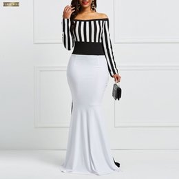 Kimono sexy long white online shopping - Clocolor Dress Elegant Women Off Sholuder Long Sleeve Color Block White Stripes Black Bodycon Maxi Mermaid Party Dress