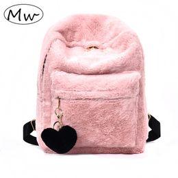 $enCountryForm.capitalKeyWord NZ - Moon Wood Cute Solid Faux Fur Backpack Heart Pendant Winter Soft Women's Big Plush Backpack Pink Black White Rucksack Mochila Y19061102