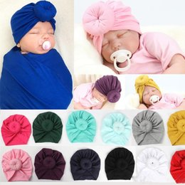 handmade hairbands baby girl UK - FREE SHIPPING Baby Girls handmade flower hat kids cute solid color turban hat 12 colors