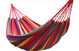 Wholesale Hot Sale rainbow Outdoor Leisure Double 2 Person canvas Hammocks Ultralight Camping Hammock with backpack Hammocks