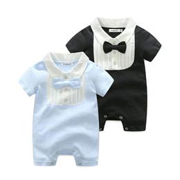 Discount baby tie romper - New Summer bow tie baby romper cotton newborn baby boy clothes newborn rompers Baby Infant Boy Designer Clothes boys clo