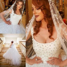 arabic wedding dresses red UK - Luxury Pearls Appliques White Wedding Dresses Saudi Arabic Dubai Spaghetti Scoop Neckline Long Train Formal Bridal Gowns Vestidos
