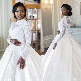 wedding gown appliques Canada - Elegant African Long Sleeve High Neck Muslim Wedding Dresses 2020 Plus Size Lace Appliques Satin A Line Wedding Pearls Bridal Gowns