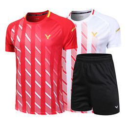 badminton clothing UK - New, Victory badminton shirt + shorts Men Women's Table Tennis T-shirt, Tennis Shirt Quick Drying, Badminton Clothing, Free Shipping
