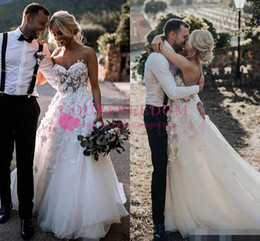 country style dresses for weddings UK - 2019 Simple Design Plus Size Country Style 3D Floral Appliques A-Line Sweetheart Wedding Dresses Bohemian Bridal Gowns for Brides