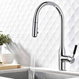Kitchen Tap Two Faucet Australia - Chrome Plated Brass Pull Out Kitchen Faucet Single Handle Deck Mounted Hot And Cold Sink Water Mixer Tap with Two Spray Mode