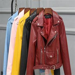 $enCountryForm.capitalKeyWord Australia - Black S-XL Bright Yellow Blue Pu Jacket British Fashion Women Zipper Motorcycle Short Leather Jacket Street Fashion Apparel