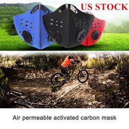 anti pollution masks Australia - US Stock! Carbon PM2.5 Cycling Protective Face Masks with Filter Anti-Pollution Dust Sport Running Training Road Bike Reusable Masks