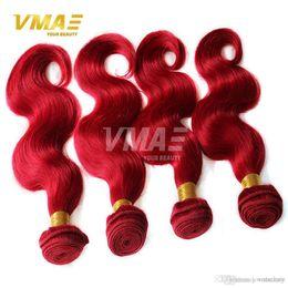 $enCountryForm.capitalKeyWord Australia - VMAE Brazilian Grade 9A Natural Human Hair Bundles Red Brazilian Virgin Human Hair Weaves Body Wave Human Pure Color Hair