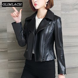 Black sheep jacket online shopping - 2019 Spring Autumn Women Genuine Leather Coats Black Slim Short Motorcycle Biker Real Sheep Leather Jackets Lambskin Outerwear