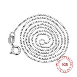 Silver Chains Free Shipping Australia - Classic Chain 100% 925 Sterling Silver 0.8 mm Box Chain Fashion Jewelry 40   45 cm rhodium plated Necklace For Women Free Shipping