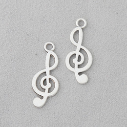 $enCountryForm.capitalKeyWord Australia - Wholesale Antique Silver Plated Vintage Music Sign Charms Alloy Jewelry Bangle Pendant Charms 10*25mm 100pcs AAC1806