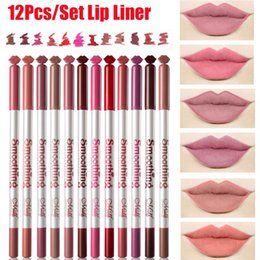 long lasting nude lipstick Australia - 12Pcs set Matte Lip Liner Waterproof Long Lasting Lipstick Pencil Nude Lips Cosmetics Makeup Women Beauty Tools