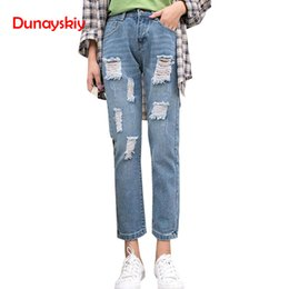 Women's Clothing Jeans Guuzyuviz Autumn Winter Plus Size Jeans Woman Vintage Casual Print Hole Ripped Washed Cotton Denim High Wasit Pants Mujer Great Varieties